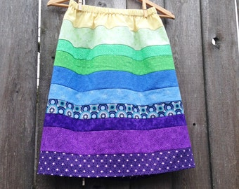 Womens Skirt - Rainbow Quilt Inspired Stripe Pieced Skirt - One size fits many