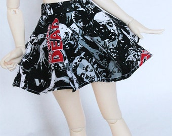 BJD MSD mini fee clothes Walking dead zombie print skater skirt