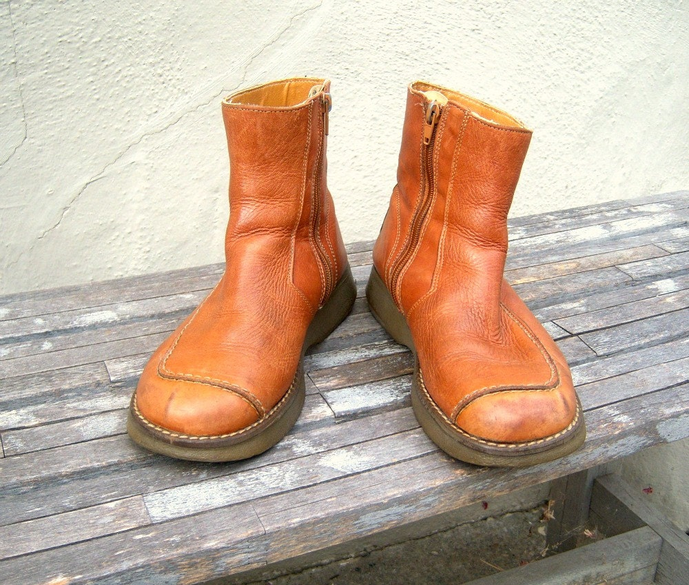 vintage earth shoe boots hippie yelos leather ankle