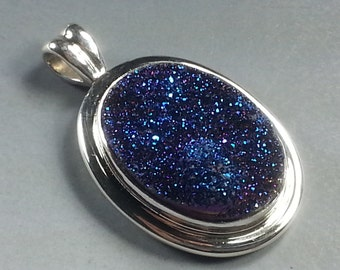 Sparkling Blue Titanium Agate Druzy Pendant with Hand Fabricated Sterling Silver Setting....Gorgeous !
