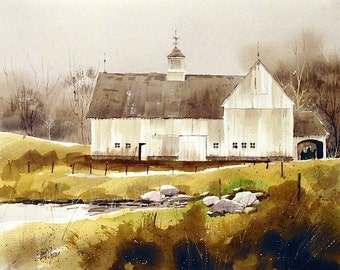 White Barn-Print from an original watercolor painting