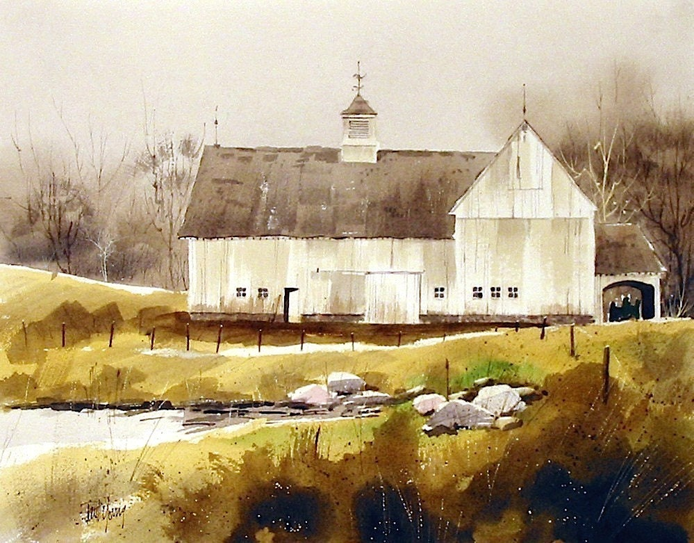 White Barn Print From An Original Watercolor Painting