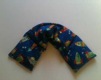 Heat pad ,Microwave Heat Pack / Flax Seed, Unscented or Scented -Spaceships