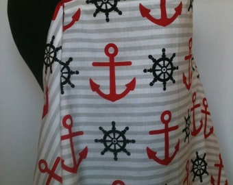 Nursing Cover- Anchors Away Navy Red