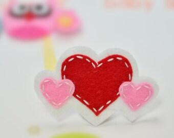 New! Set of 6pcs handmade felt heart--white/red (FT1039)