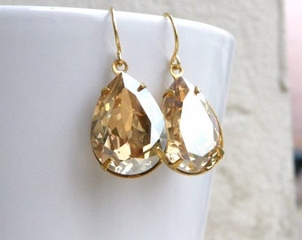 Swarovski Earrings Champagne Golden Shadow Foiled Pear Stone Gold Filled