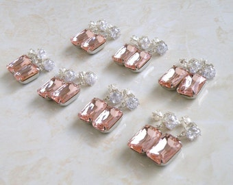 Pastel Pink Earrings Foiled Octagon Stone Rhinestone Silver Stud BE31