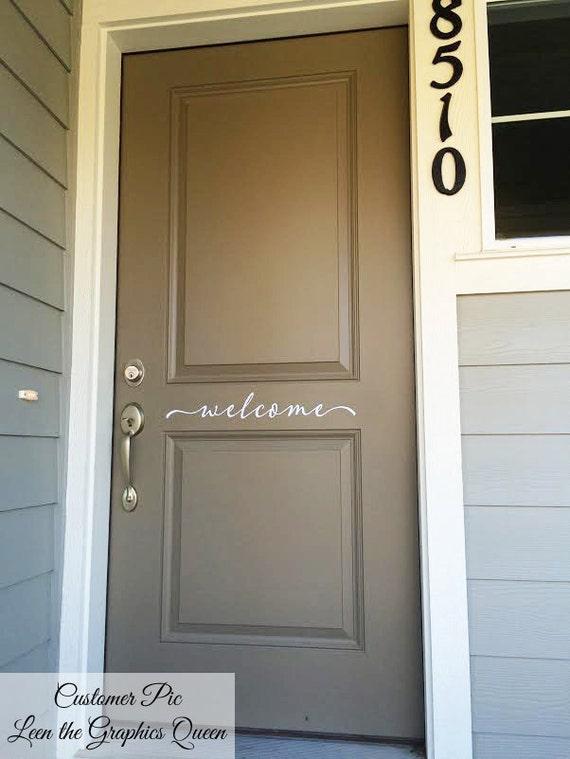 Welcome Front Door Sticker Decal Script Lettering Welcome