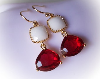 Ruby Red and White Alabaster Earrings gold glass drop earrings gold framed glass jewels for women girl friend christmas gift wedding jewelry