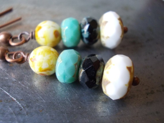 Colorful earrings handmade beaded jewelry copper rustic ethnic white black turquoise glass multicolored dangle drop jewellery handcrafted