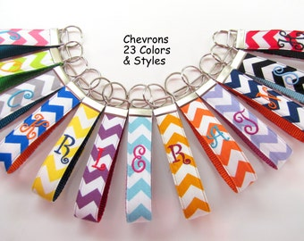 Chevron ONE Letter Monogram Key Chain,Personalized  Keychain, Wristlet Keychain, Gift Key Chain, Teacher Gift, Christmas Stocking Stuffer