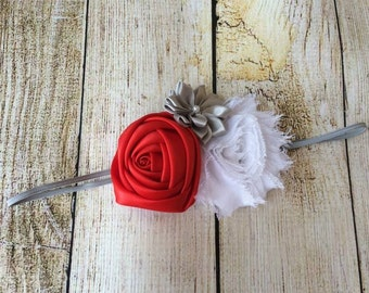 Red, Gray, and White Holiday Headband for baby or toddler
