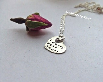i carry your heart   - inspired by the beautiful poem by E E Cummings -  sterling silver tiny heart SimaG