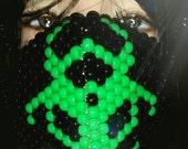 Green Biohazard Kandi Mask, Plur Rave, Kandi Surgical Mask in Neon Green and Black