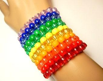 Rainbow Kandi Cuff, Raver Bracelet, Plur Kandy