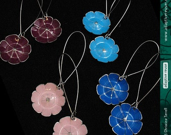 Long Dangle Flowers—Upcycled Tin Earrings—You Choose the Color