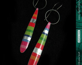 Bright Multi Stripes -- Long DripDrops -- Upcycled Tin Earrings