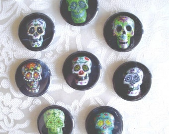 """Sugar Skulls - Day of the Dead 1.25"""" Magnets or Pinback Buttons - Set of 8"""