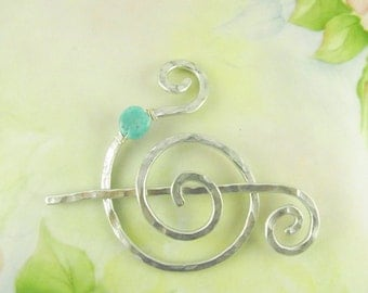 Silver Spiral Shawl Pin with Turquoise