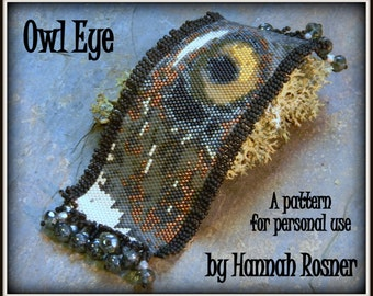 Bead Pattern - Owl Eye Beaded Bracelet peyote stitch or loomwork TUTORIAL INSTRUCTIONS