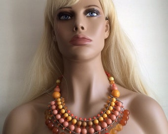 Sale ...Chunky gypsy boho style necklace beaded bright tangerine happy citrus orange mixed multi color tone acrylic beads