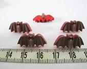 16pcs of Brown Bat Shank Matte Button - Red Eyes Matte