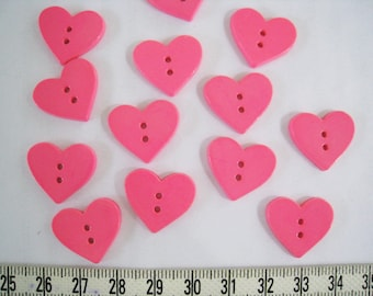 28pcs of Pink Heart Button 18mm