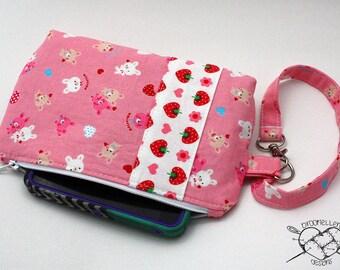Wristlet Wallet Kawaii Bunnies and Strawberries Ready to Ship