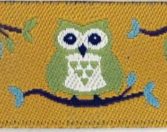 2 yards OWLS Jacquard trim. Light blue Light green on golden mustard. 5/8 inch wide. 2001-A