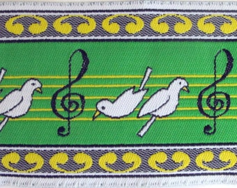 3 yards DOVE BIRDS love birds wide Jacquard trim in white black yellow on green. 2 inch wide. R47