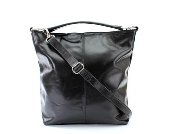 Black Leather Hobo Tote Purse