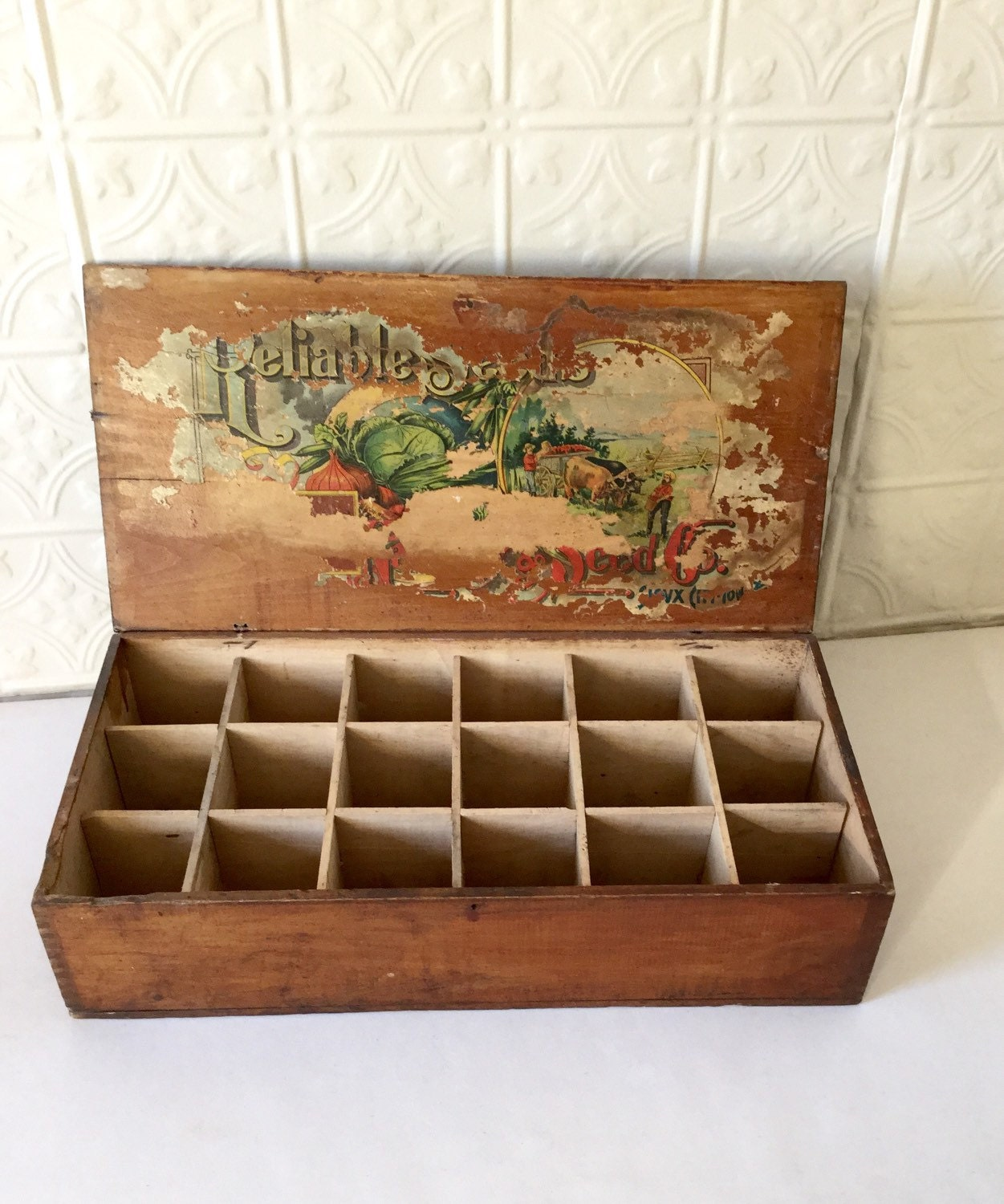 Antique seed box sioux city iowa divided wood store display for Craft stores in sioux city iowa