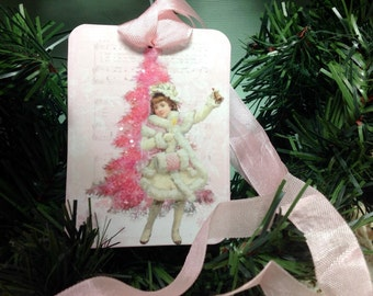 Set of 6 Pink Christmas Gift Tags - Glittered Christmas Trees Vintage Girl With Muff