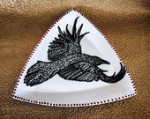 RavenWing Triangle Plate Black White and Red for Table and Wall Art Ceramic Hand Painted Original
