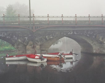 Stratford-upon-Avon, England Photography, Fishing Boats, Morning Fog, Avon River, 5 x 7 Photo, Boat Photography, Landscape Print, Fine Art