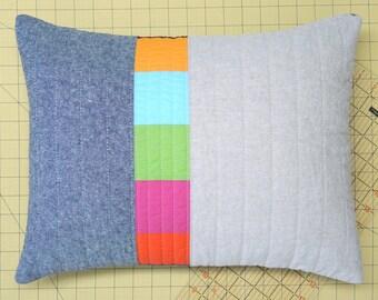 Modern Lumbar Pillow - Linen Triptych Blue