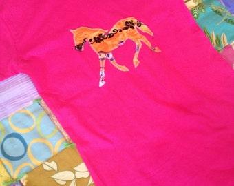 Hot pink with orange hawaiian pony horse tshirt size girls Large 14-16