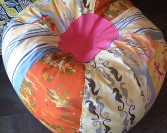 Flip Flops and multiple Tropical Beach Bean Bag Chair with seahorses and stripes for the surfer girl