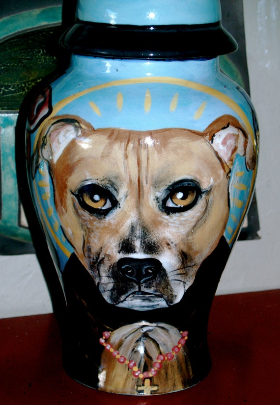 Ceramic burial PET URN Custom large dog urn any breed personalized bull terrier pit bull dog