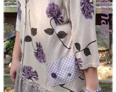 Altered Couture J Jill sweater created as tunic in taupe and lavender soft cotton knit. Size Large.