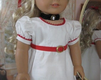 18 inch Doll Clothes American Girl 1800s Red Trimmed White Regency Dress