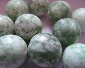 Vintage Glass Beads (2) White & Moss Green Focal Beads