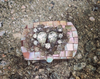 Shell inlay Pill or Trinket box