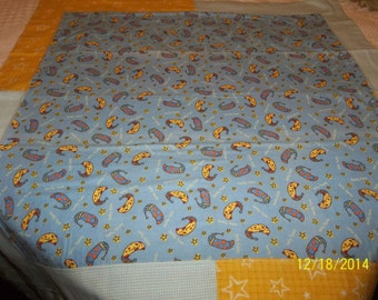 "Baby Blanket, Flannel ""Beddy Byes"" Theme, Blue/Yellow, 36"" X 36""."