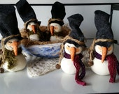 5 Primitive Miniature Gourd Snowman Special Order for Rebecca