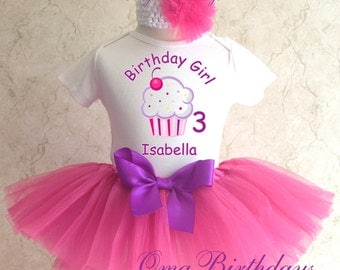 Purple Pink Cupcake cherry Birthday Girl Party Tutu Outfit Dress Set Personalized Custom Name Age Shirt 1st 2nd 3rd 4th 5th 6th 7th