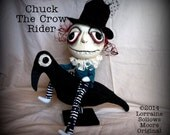 Original OOAK Primitive Crow Riding Creepy Art Doll Chuck ReSerVED  for Julie