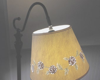 UNO/Bridge Pine Cone Cut & Pierced Lampshade - Bridge Lampshade - Bridge lamp - Floor Lamp Shade - Paper Lampshade - Pine Cones - Handmade