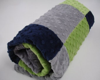 Navy Lime Gray Checkered Double Sided Minky Blanket MADE TO ORDER