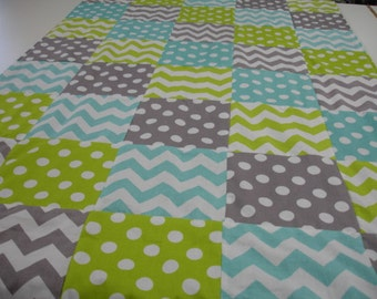 Chevrons and Dots in Lime Aqua and Gray Minky Comforter Blanket MADE TO ORDER